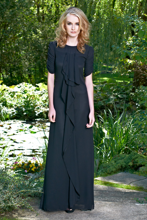 Black short sleeve gathered round neck gown with ruffles