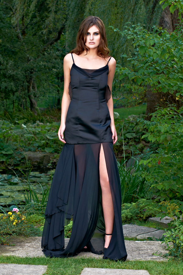 Sexy satin slit chiffon sheer long legs spaghetti straps made-to-measure party dress