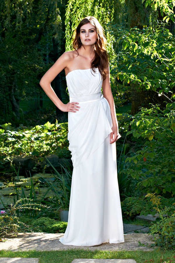 White ethereal draped garden sleeveless Toronto sash long made-to-measure bridal wedding dress