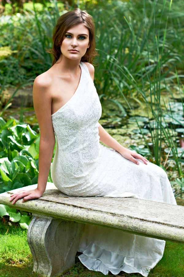 White one shoulder lace garden party wedding/hostess dress