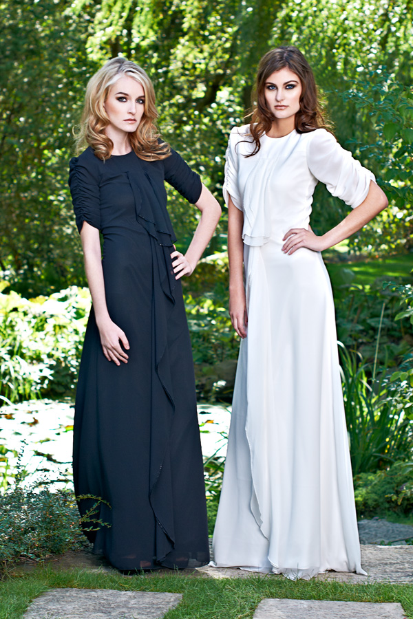 Black and white short sleeve made-to-measure bridesmaid gowns