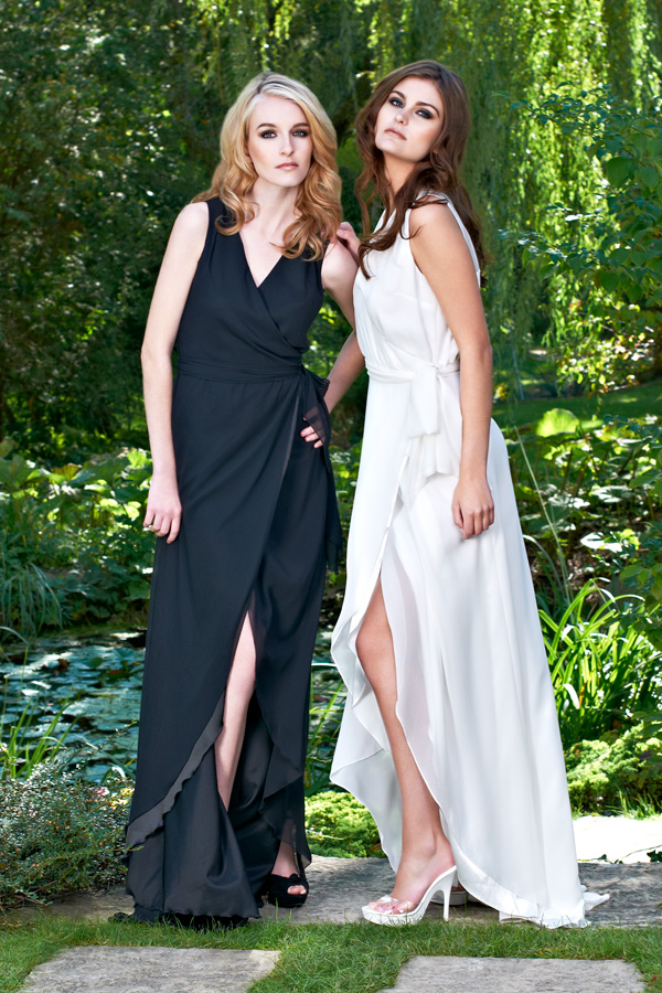 Black and white wrap slit long chiffon sleeveless light airy flowing garden wedding dresses