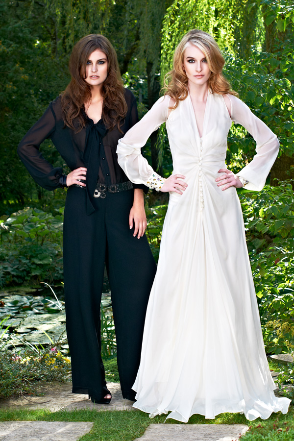 Black belted jumpsuit and white Russian Swarovski vintage chiffon 70s bowtie sheer wedding dress