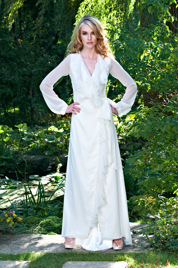 White wrap vintage garden chiffon sheer ethereal magical wedding dress