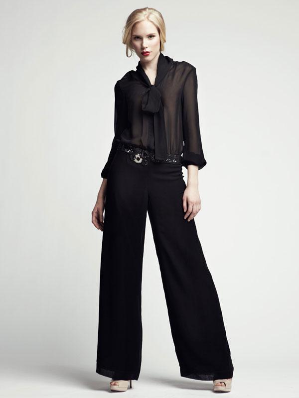 Black jumpsuit light long sleeve sheer jeweled belt sequence