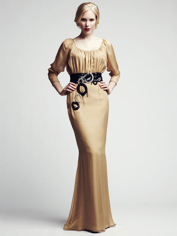Long sleeve belted, beaded, jeweled, gathered, gold formal gown