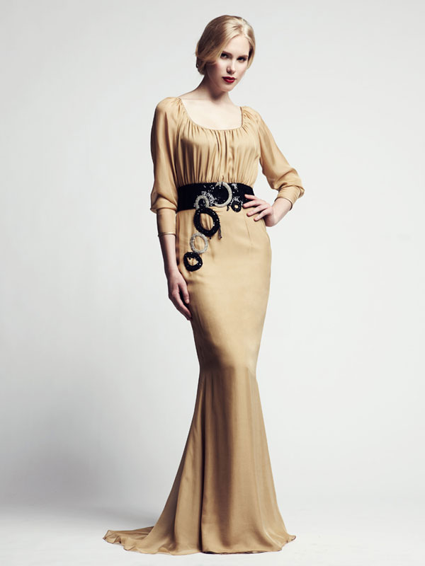 Round neck gathered, train, chiffon, silk beaded made-to-measure evening gown