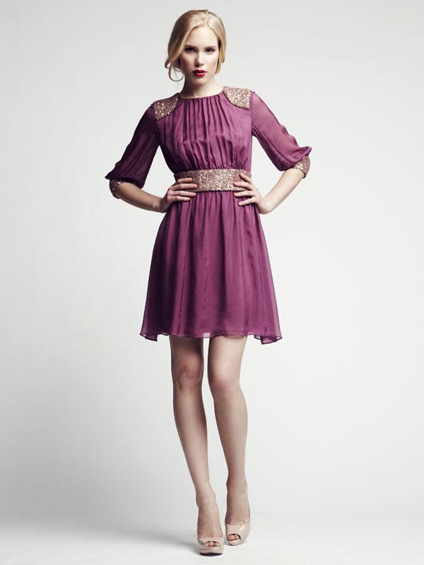Pink jeweled shoulder sequence short cocktail dress