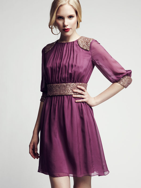 Belted cuff sequence pink light soft chiffon made-to-measure cocktail dress