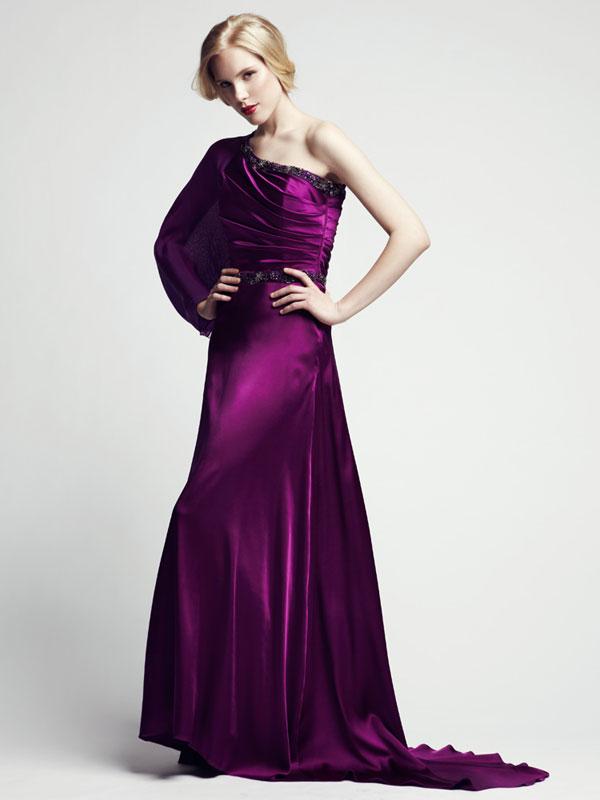 Beaded silk satin train light evening gown