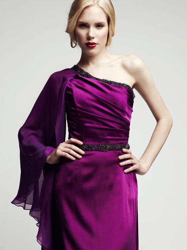 Purple jewel tone silk shawl sleeve formal made-to-measure gown