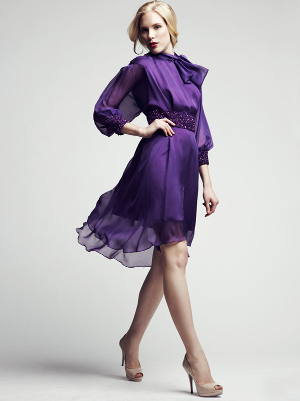 Purple  bowtie chiffon sheer belted sequence cocktail dress