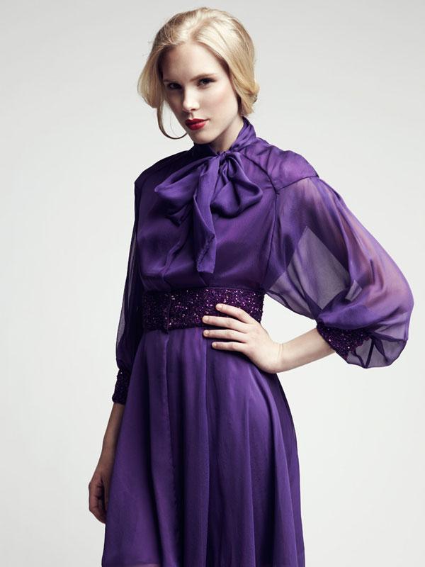 Long sleeve sheer chiffon silk made-to-measure dress