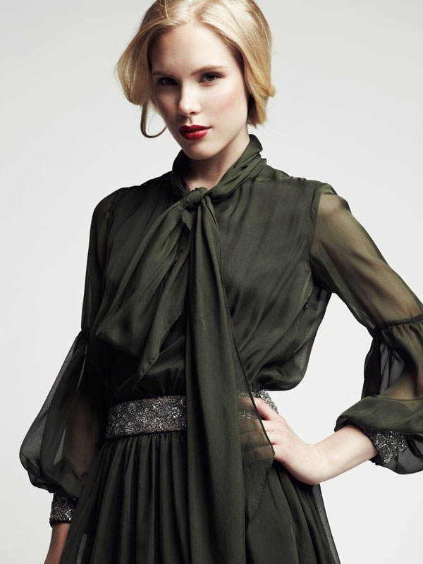 Bell sleeves and jeweled cuffs long sleeves sheer made-to-measure cocktail dress