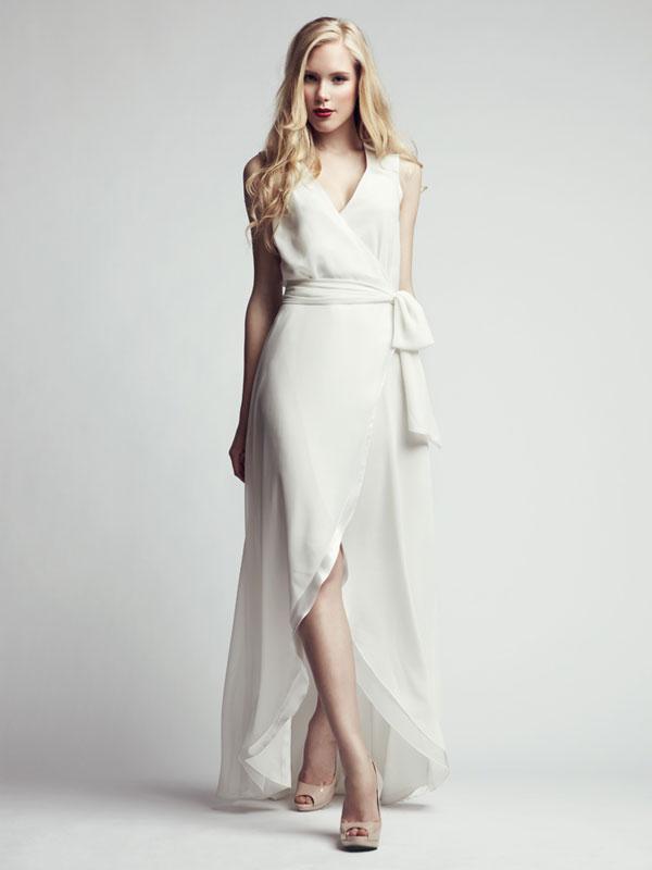 Asymmetric white made-to-measure dress