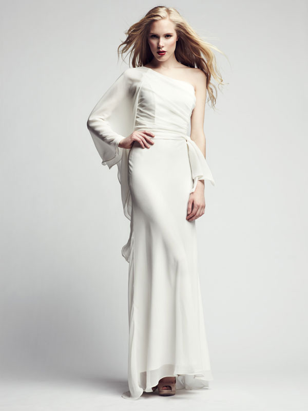 Belted one sleeve made-to-measure formal gown