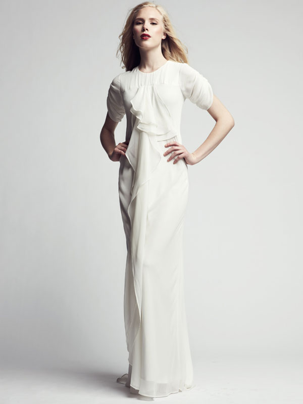 High neck short sleeve gathered white formal gown