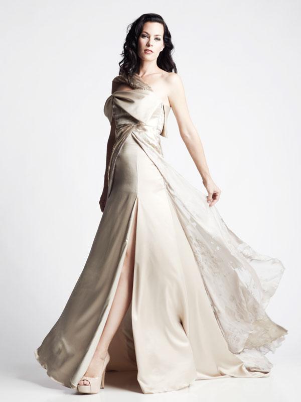 Gold satin silk one shoulder strap gown