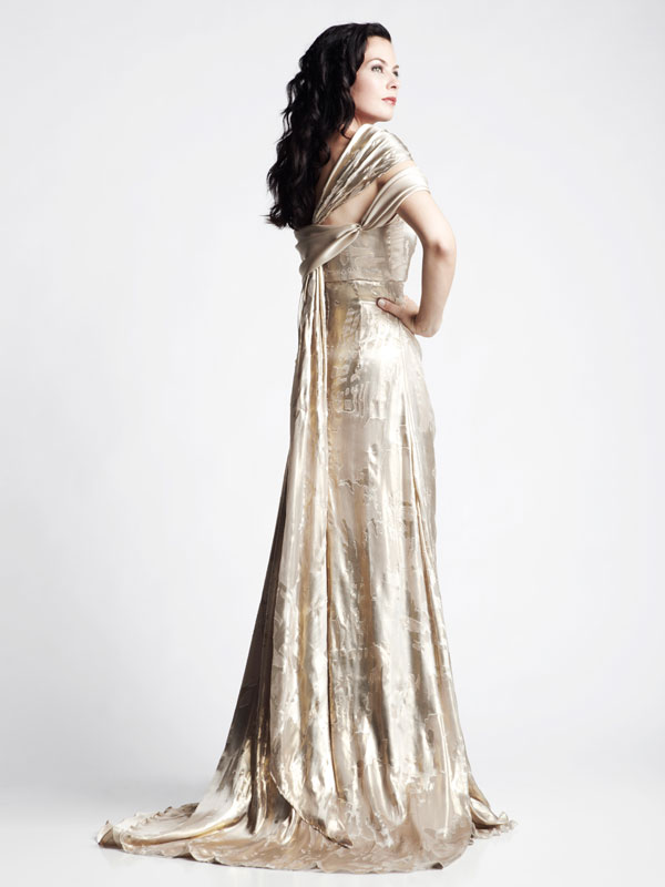 Gold long draped formal gown