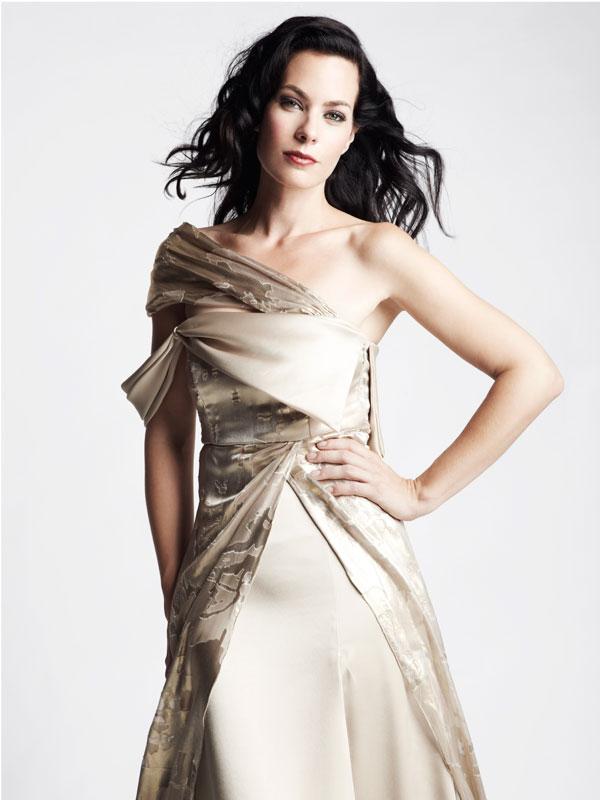 Asymmetric jacquard one shoulder satin silk gown
