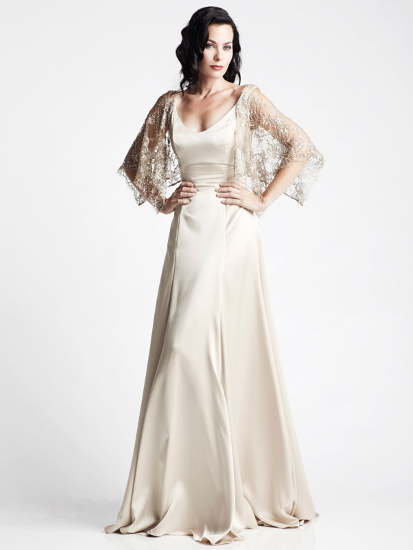 Gold shawl beaded Chantilly lace  silk gown