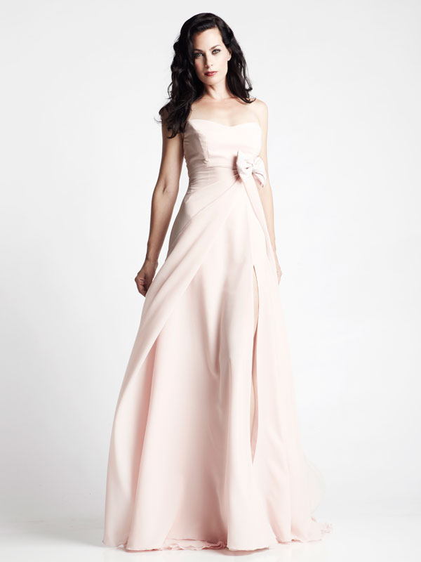 Pink long slit multi-layered made-to-measure gown