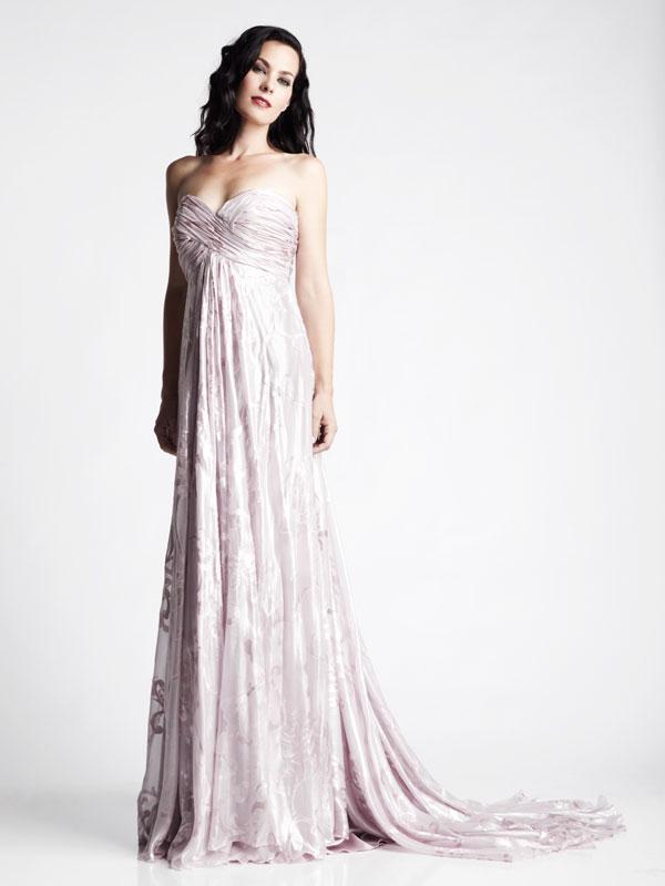 Pink bridesmaid jacquard gathered dress