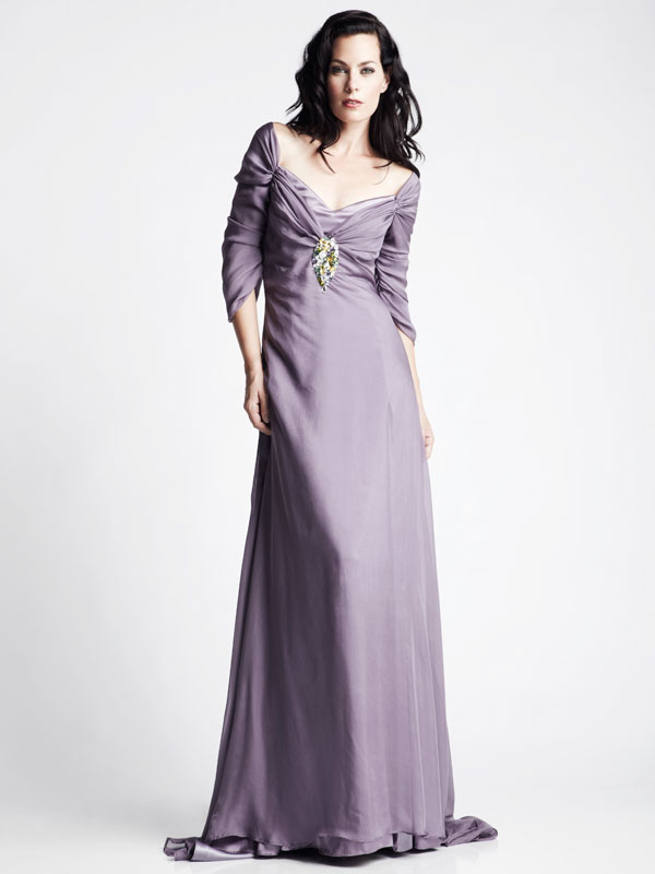 Purple long sleeve gathered boat neck jeweled Swarovski made-to-measure gown