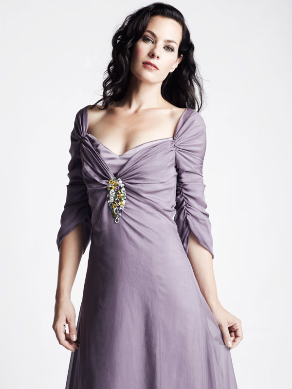 Purple lavender chiffon long sleeve gown