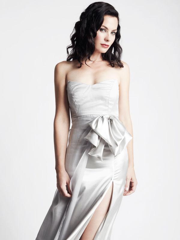 Strapless silk bow silver chiffon satin bridesmaid gown